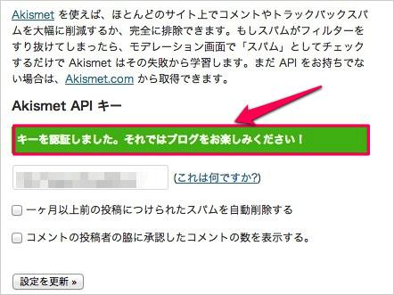 WPプラグイン「Akismet」のAPIキーの取得方法と有効化11